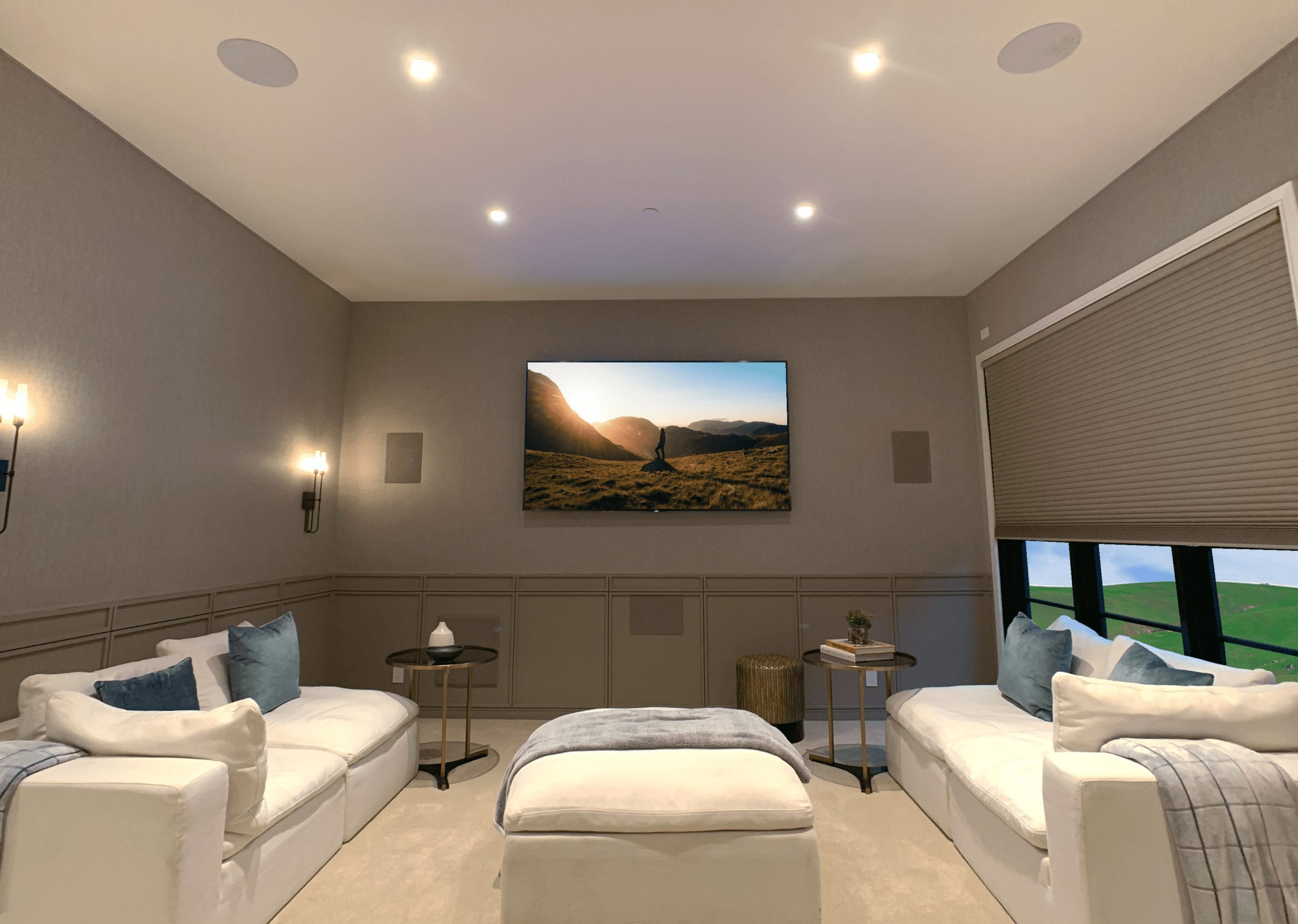 home theater room with sony tv and dolby surround sound
