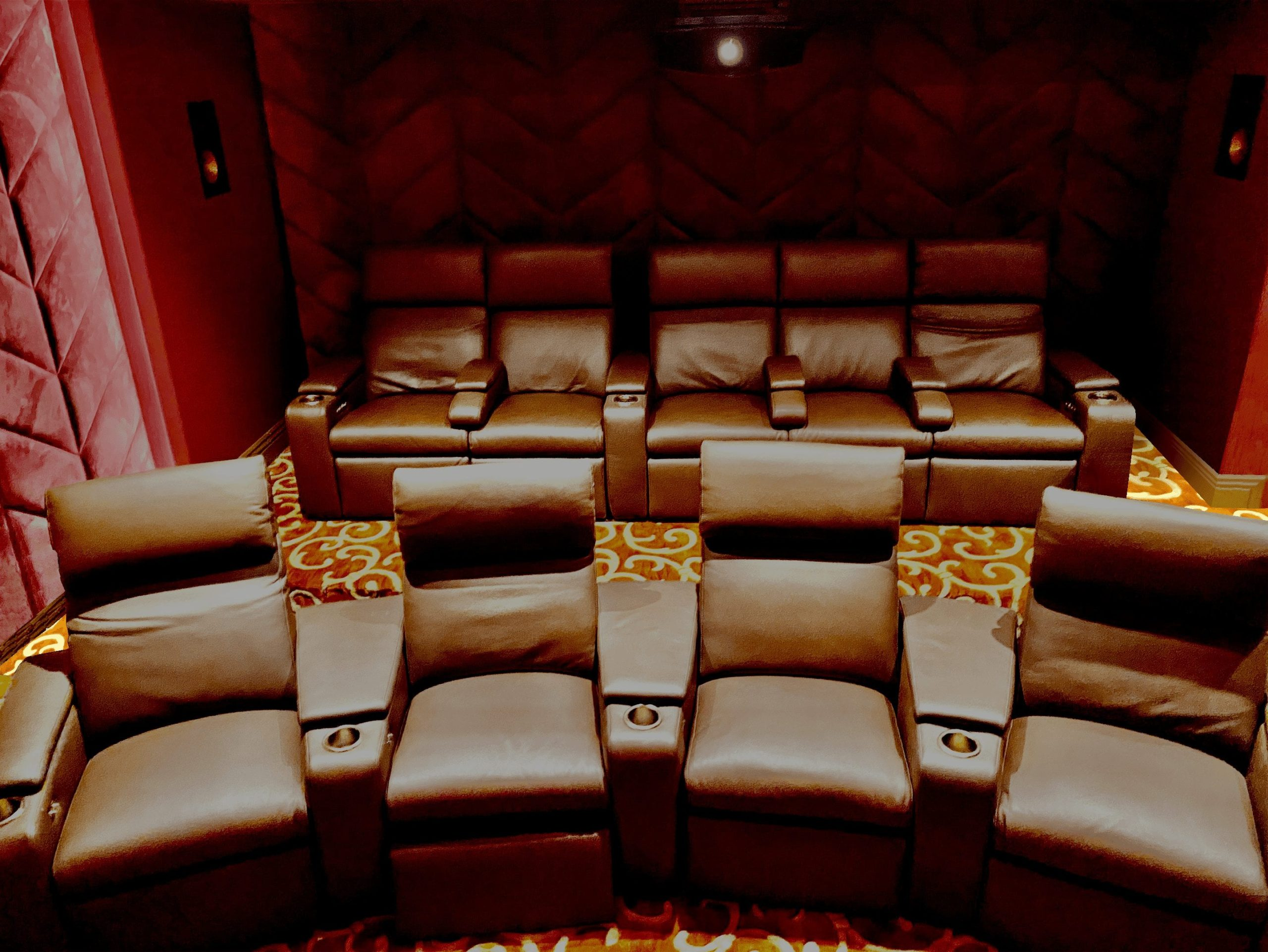 Brown theater chairs and home theater acoustics