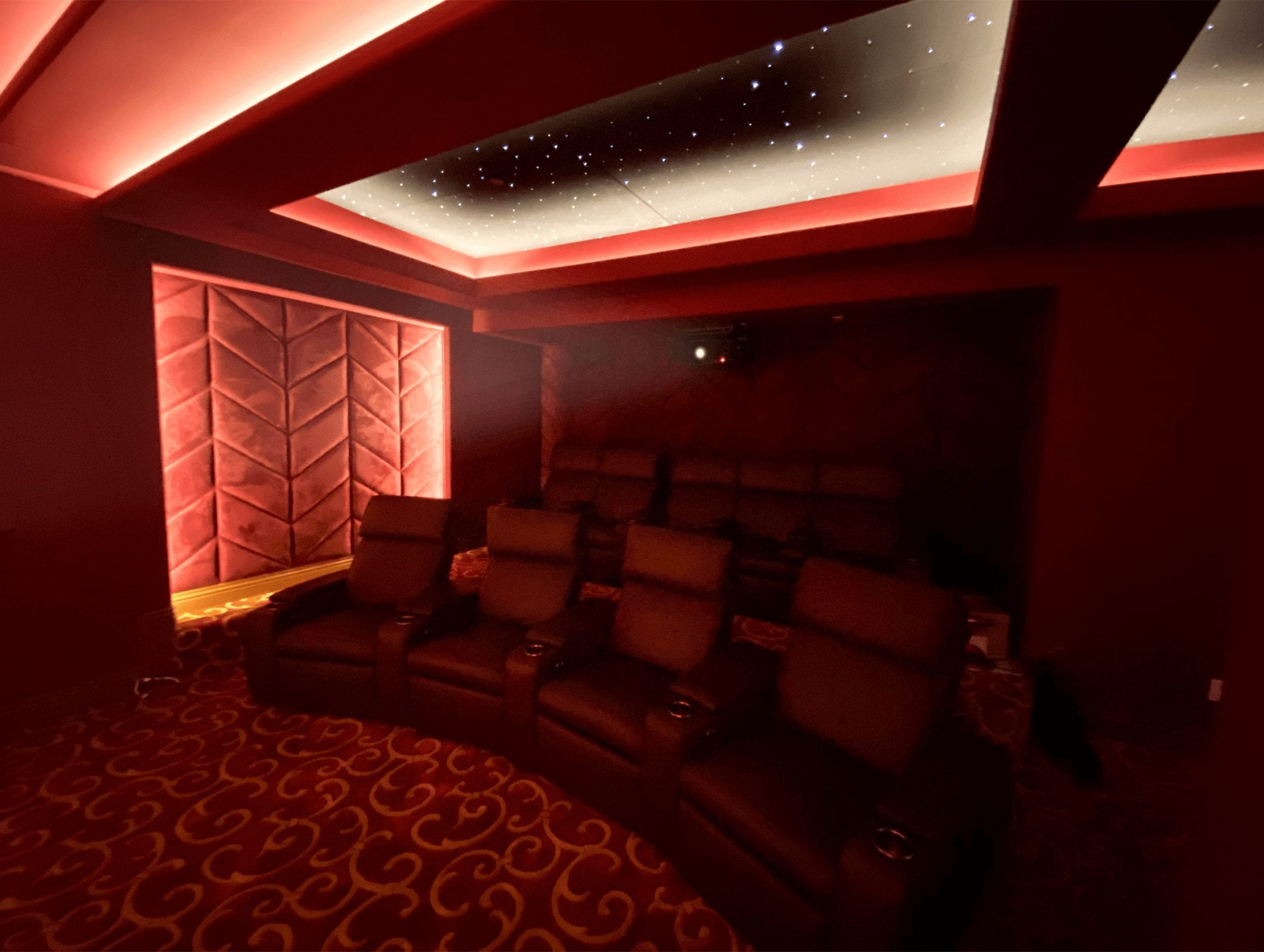 Theater chairs seating red home theater star ceiling