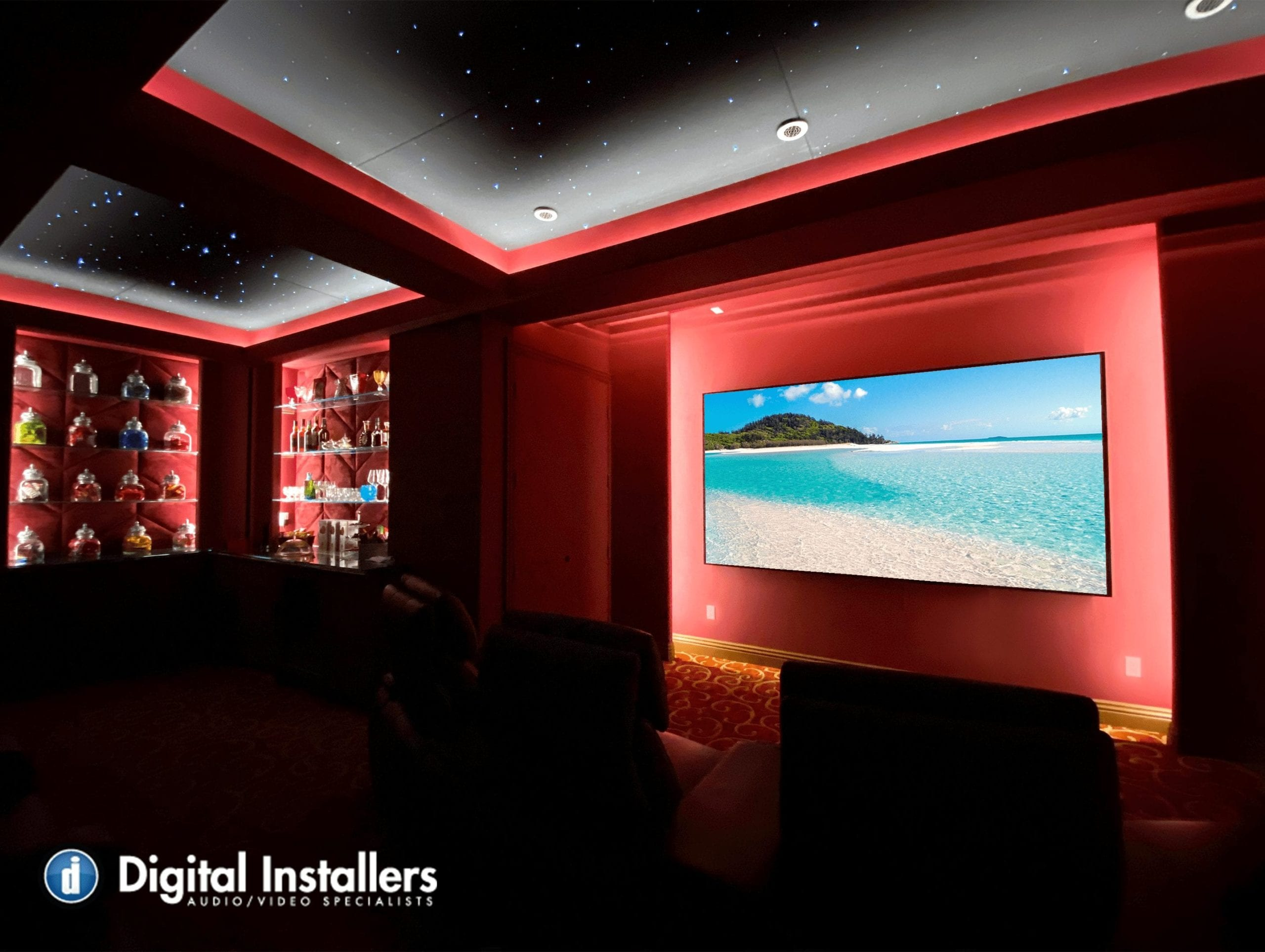 Home theater star ceiling red acoustics screen innovations sony